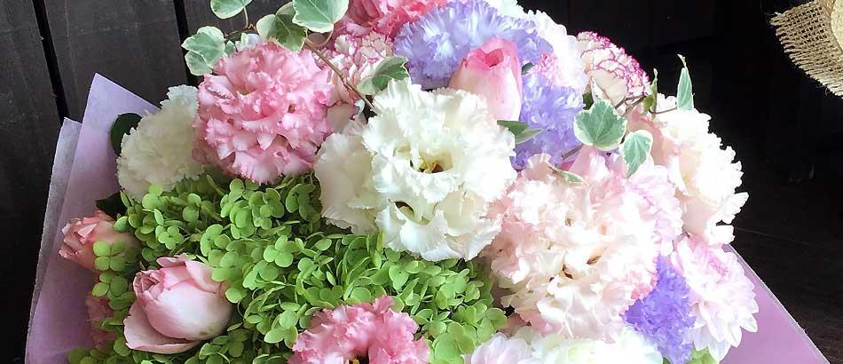 ご退院された方への花束をお作りしました。ショコラロマンチカ
