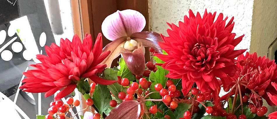 男性への花束 赤いダリア(熱唱)